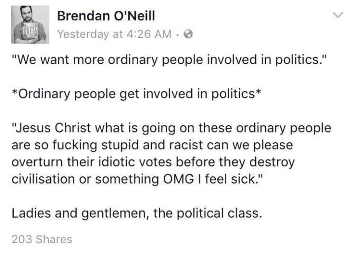 Brendan O'Neill Ordinary Folk Politicians