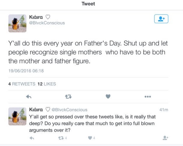y'all do this every year on fathers day shut up and let people recognize single mothers who have to be both the mother and father figure.jpg